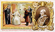Leo XIII (Vincenzo Giacchino Pecci 1810-1903) Pope from 1878, opening the Vatican archives for historical research, 1883. Inset portrait. Late 19th century chromolithograph.