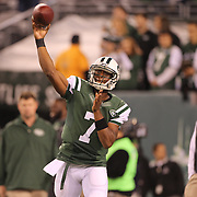 Geno Smith, New York Jets, warming up watched by Head Coach Rex Ryan before the New York Jets Vs Chicago Bears, NFL regular season game at MetLife Stadium, East Rutherford, NJ, USA. 22nd September 2014. Photo Tim Clayton for the New York Times