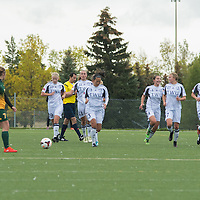 Twenty Western players head back to centre field after scoring during the Women's Soccer home game on September 11 at U of R Field. Credit: Arthur Ward/Arthur Images