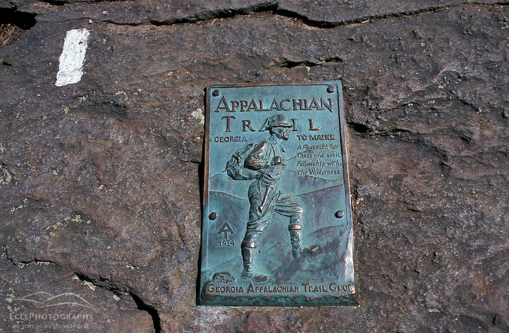 Chattahoochee N.F., GAThe first trail blaze and southern terminus sign of the Appalachian Trail on Springer Mountain.