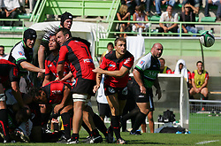 Toulon's Pierre Mignoni releases the ball during the French Top 14 Rugby Match, Montauban vs Toulon on Sunday to cap a memorable week for the south-western club at the Sapiac stadium in Montauban, France on September 6, 2009