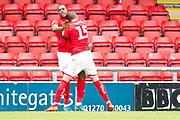 Crewe Alexandra forward Chuma Anene celebrate his goal with team-mate during the EFL Sky Bet League 2 match between Crewe Alexandra and Exeter City at Alexandra Stadium, Crewe, England on 5 October 2019.