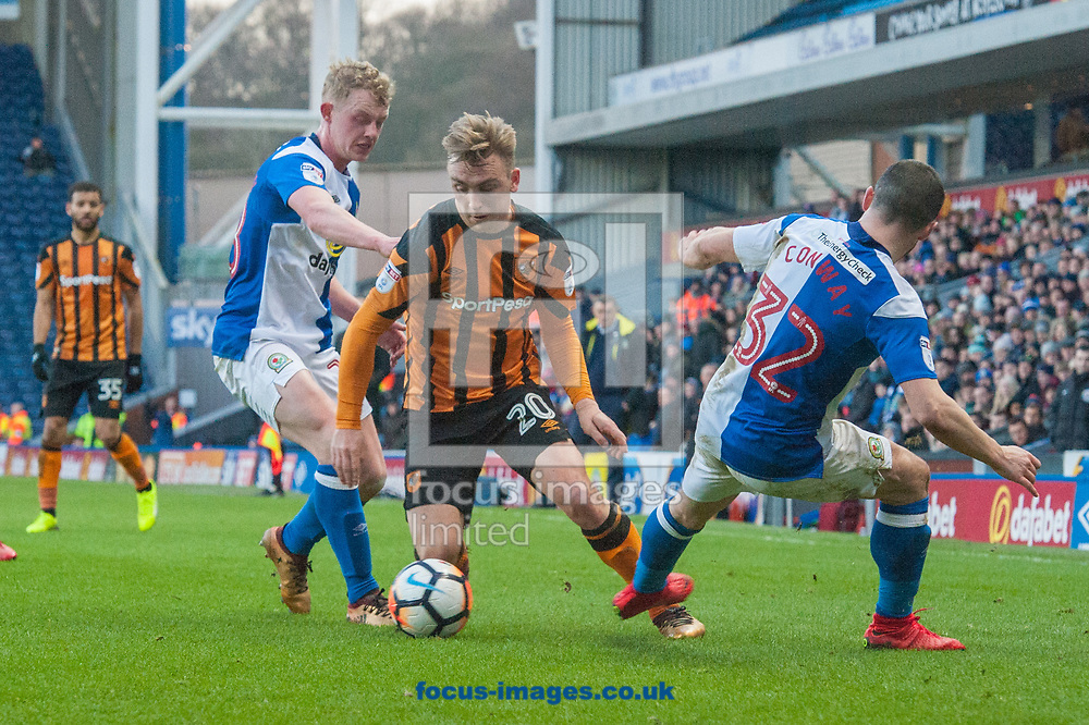 Jarrod Bowen of Hull City finds a way past Willem Tomlinson (left) and Craig Conway of Blackburn Rovers during the FA Cup match at Ewood Park, Blackburn<br /> Picture by Matt Wilkinson/Focus Images Ltd 07814 960751<br /> 06/01/2018