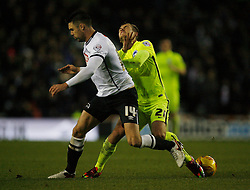 Jason Shackell of Derby County (L) and James Wilson of Brighton & Hove Albion in action - Mandatory byline: Jack Phillips / JMP - 07966386802 - 12/12/2015 - FOOTBALL - The iPro Stadium - Derby, Derbyshire - Derby County v Brighton & Hove Albion - Sky Bet Championship