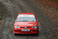 #49 Barry Grant / Helen Grant Peugeot 106 GTI Bala & District Motor Club during Neil Howard Memorial Stage Rally, and opening round of the 2015 Motorsport News Rally Championship.  at Oulton Park, Little Budworth, Cheshire, United Kingdom. November 07 2015. World Copyright Peter Taylor. Copy of publication required for printed pictures.  Every used picture is fee-liable. http://archive.petertaylor-photographic.co.uk