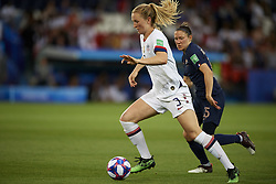 June 28, 2019 - Paris, France - Samantha Mewis (NC Courage) of United States and Elise Bussaglia (Dijon FCO) of France competes for the ball during the 2019 FIFA Women's World Cup France Quarter Final match between France and USA at Parc des Princes on June 28, 2019 in Paris, France. (Credit Image: © Jose Breton/NurPhoto via ZUMA Press)