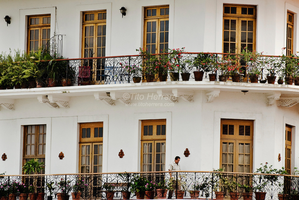 San Felipe, also known as Casco Viejo, area in Panama City, Panama.  Beautiful balconies are one of the main attractions for visitors as well as residents of Casco Viejo.  Green and flowers plants decorate the view of and from the balconies of Casco Viejo.