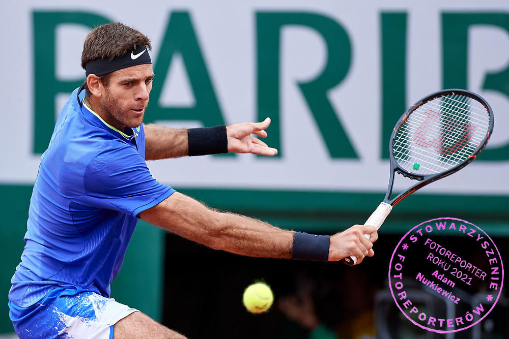 Paris, France - 2017 June 03: Juan Martin Del Potro  from Argentina plays a backhand while his men's single match third round during tennis Grand Slam tournament The French Open 2017 (also called Roland Garros) at Stade Roland Garros on June 03, 2017 in Paris, France.<br /> <br /> Mandatory credit:<br /> Photo by &copy; Adam Nurkiewicz<br /> <br /> Adam Nurkiewicz declares that he has no rights to the image of people at the photographs of his authorship.<br /> <br /> Picture also available in RAW (NEF) or TIFF format on special request.<br /> <br /> Any editorial, commercial or promotional use requires written permission from the author of image.