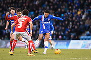 Gillingham forward Dominic Samuel takes a shot at goal during the Sky Bet League 1 match between Gillingham and Swindon Town at the MEMS Priestfield Stadium, Gillingham, England on 6 February 2016. Photo by David Charbit.
