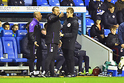 Stoke City manager Gary Rowett complains to the 4th official about a foul which was not given on Tom Ince (7) of Stoke City by Sam Baldock (9) of Reading shortly before Mo Barrow (17) of Reading scored the equalising goal to make the score 2-2 during the EFL Sky Bet Championship match between Reading and Stoke City at the Madejski Stadium, Reading, England on 1 December 2018.