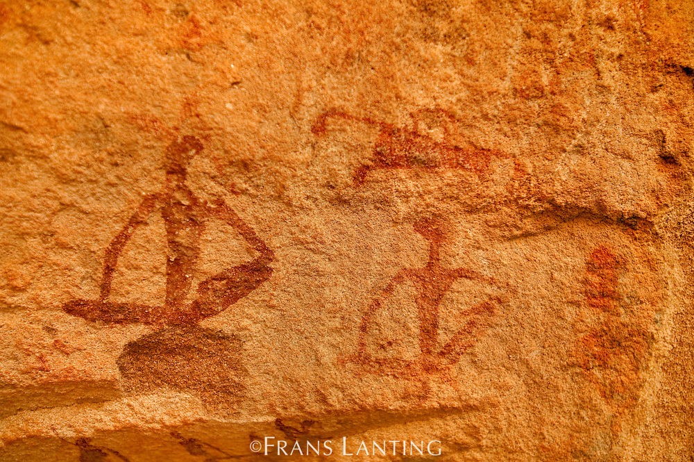 Human figures, rock painting, Twyfelfontein World Heritage Site, Uibasen Conservancy, Damaraland, Namibia