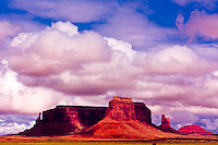 Clouds passing over the massive buttes of the Monument Valley, Utah USA