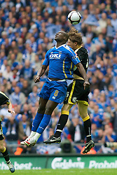 LONDON, ENGLAND - Saturday, May 17, 2008: Cardiff City's Glenn Loovens and Portsmouth's Papa Bouba Diop during the FA Cup Final at Wembley Stadium. (Photo by Chris Ratcliffe/Propaganda)