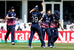 Laura Marsh of England Women celebrates with teammates after taking the wicket of Eshani Lokusooriya of Sri Lanka Women - Mandatory by-line: Robbie Stephenson/JMP - 02/07/2017 - CRICKET - County Ground - Taunton, United Kingdom - England Women v Sri Lanka Women - ICC Women's World Cup Group Stage