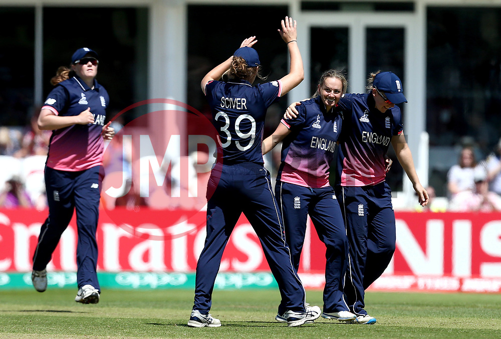 Laura Marsh of England Women celebrates with teammates after taking the wicket of Eshani Lokusooriya of Sri Lanka Women - Mandatory by-line: Robbie Stephenson/JMP - 02/07/2017 - CRICKET - County Ground - Taunton, United Kingdom - England Women v Sri Lanka Women - ICC Women's World Cup Group Stage