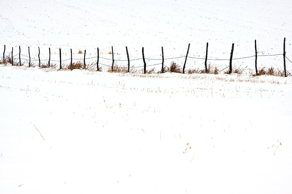 An old fence divides two farm fields buried under the cover of a winter snowfall in rural Peoria County, IL.