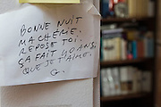 "March 6, 2015, Paris, France. Post-it notes decorate the Paris' apartment where Georges and Maryse Wolinski lived. French Cartoonist Georges Wolinski (1934 –2015) wrote daily post-it notes to his wife Maryse Wolinski (1943, Algiers). Two month after the death of Georges Wolinski, the apartment is full of souvenirs and notes, attesting a half-century-long love affair: ""Good night my Darling, rest well, it has been 40 years that I love you, G.""  <br /> The cartoonist Georges Wolinski was 80 ye<br /> ars old when he was murdered by the French jihadists Chérif en Saïd Kouachi, he was one of the 12 victims of the massacre in the Charlie Hebdo offices on Janua<br /> ry 7, 2015 in Paris. Charlie Hebdo published caricatures of Mohammed, considered blasphemous by some Muslims. During his life, Georges Wolinski defended freedom, secularism and humour and was one of the major political cartoonists in France. The couple was married and had lived for 47 years together. Photo: Steven Wassenaar"