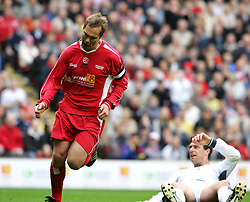LIVERPOOL, ENGLAND - SUNDAY MARCH 27th 2005: Liverpool Legends' Jason McAteer celebrates scoring the opening goal against the Celebrity XI during the Tsunami Soccer Aid match at Anfield. (Pic by David Rawcliffe/Propaganda)
