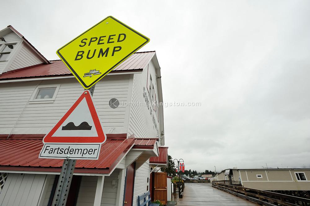 Norwegian speed bump sign, or fartsdemper, in front of the Sons of Norway Hall in Petersburg, Alaska.