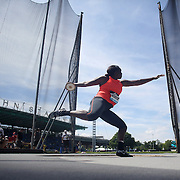 Whitney Ashley, USA, in action in the Women's Discus throw event during the Diamond League Adidas Grand Prix at Icahn Stadium, Randall's Island, Manhattan, New York, USA. 13th June 2015. Photo Tim Clayton