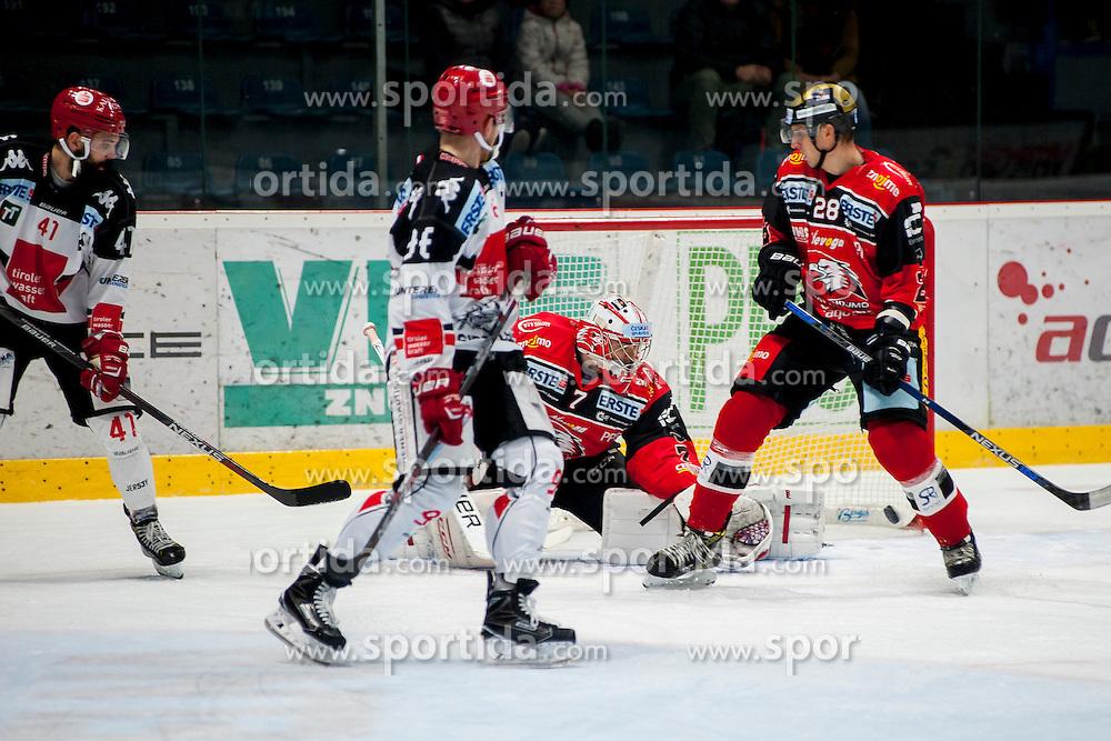 23.10.2016, Ice Rink, Znojmo, CZE, EBEL, HC Orli Znojmo vs HC TWK Innsbruck Die Haie, 13. Runde, im Bild v.l. Benedikt Schennach (HC TWK Innsbruck) Mario Huber (HC TWK Innsbruck) Patrik Nechvatal (HC Orli Znojmo) Marek Biro (HC Orli Znojmo) // during the Erste Bank Icehockey League 13th round match between HC Orli Znojmo and HC TWK Innsbruck Die Haie at the Ice Rink in Znojmo, Czech Republic on 2016/10/23. EXPA Pictures © 2016, PhotoCredit: EXPA/ Rostislav Pfeffer
