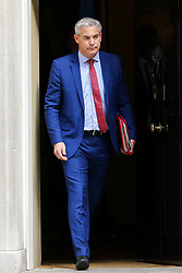 © Licensed to London News Pictures. 10/09/2019. London, UK. Brexit Secretary STEPHEN BARCLAY  departs from No 10 Downing Street after attending the weekly Cabinet Meeting. Photo credit: Dinendra Haria/LNP