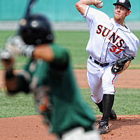 07 August 2011:  Stephen Strasburg pitches against the Greensboro Grasshoppers in his first rehab assignment for the Class A Hagerstown Suns since his Tommy John surgery in September 2010 on August 7, 2011 in Hagerstown, Maryland.