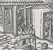 Refining copper in a furnace.  In the foreground a coating of copper is being hammered off an iron bar.  This was a method of testing to see if the metal was sufficiently refined. From 'De re metallica', by Agricola, pseudonym of Georg Bauer (Basle, 1556)