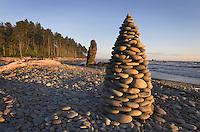 Cobblestone cairn, Cairn, Ruby Beach Olympic National Park