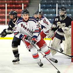 Toronto, ON - Feb 16 : Ontario Junior Hockey League Game Action between the North York Rangers Hockey Club and the Toronto Lakeshore Patriots Hockey Club.  Brandon Gaudette #27 of the North York Rangers Hockey Club skates after the puck during first period game action.<br /> (Photo by Gary Keys / OJHL Images)