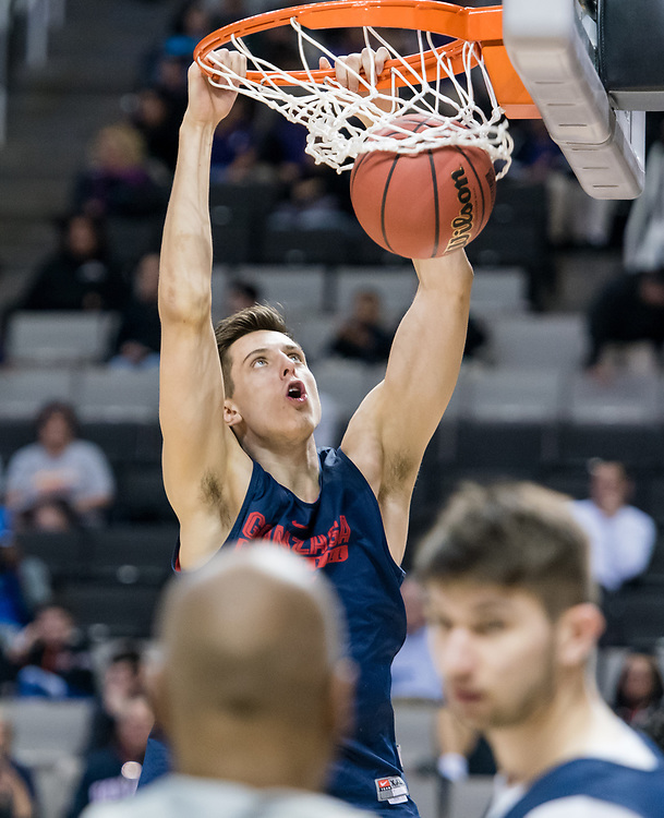 Gonzaga men's basketball and the West Virginia Mountaineers held open practice and media sessions on March 22nd, 2017 in the SAP Center in San Jose, CA. (Photo by Edward Bell)