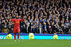 Liverpool's Daniel Sturridge celebrates his goal in front of the home fans - Photo mandatory by-line: Dougie Allward/JMP - Tel: Mobile: 07966 386802 23/11/2013 - SPORT - Football - Liverpool - Merseyside derby - Goodison Park - Everton v Liverpool - Barclays Premier League