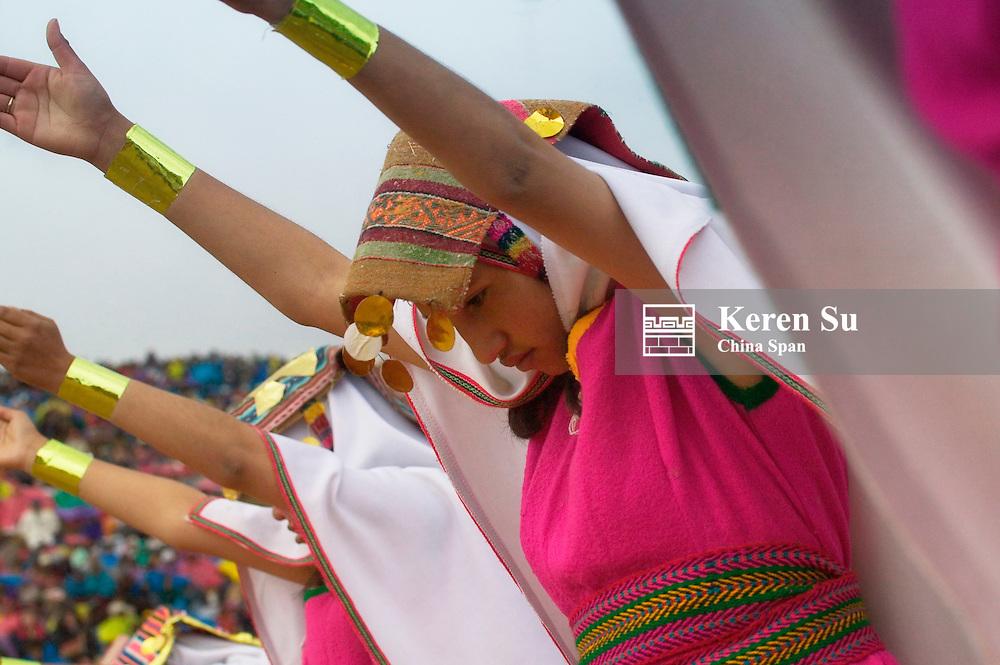 Inti Raymi Festival performance celebrating winter solstice, Sacsayhuaman ruins, Cuzco, Peru