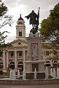 View of the Columbus statue and Alcaldia in Plaza Colon, Mayaguez Puerto Rico