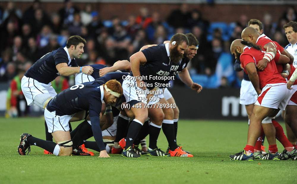 (L to R) Johnnie Beattie, Rob Harley, Geoff Cross, Ross Ford and Alasdair Dickinson - Scotland forwards prepare to pack down against the Tonga forwards.<br /> Scotland v Tonga, Rugby Park, Kilmarnock, Scotland, Saturday 22 November 2014<br /> Please credit: Fotosport/David Gibson.