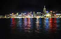 Hong Kong skyline and Kowloon bay at night, Hong Kong, China.