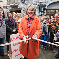 Cllr. Mary Howard cutting the ribbon on the new indoor market opened in Ennis