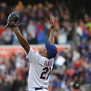 Pitcher Jeurys Familia, New York Mets, celebrates after securing the save during the New York Mets Vs Washington Nationals MLB regular season baseball game at Citi Field, Queens, New York. USA. 4th October 2015. Photo Tim Clayton