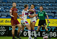 Mason Caton Brown of Wakefield Trinity celebrates scoring the 1st try of the game  with team mate Matty Ashurst against Huddersfield Giants during the Ladbrokes Challenge Cup match at the John Smiths Stadium, Huddersfield<br /> Picture by Stephen Gaunt/Focus Images Ltd +447904 833202<br /> 11/05/2018