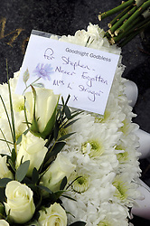 © Licensed to London News Pictures. 04/01/2012. Flowers laided at the Stephen Lawrence memorial Plaque on Well Hall Road,Eltham on January 4th, 2012,  the day Gary Dobson and David Norris are sentenced for the murder of Stephen Lawrence. Photo credit : Grant Falvey/LNP