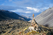 Alaska. Arctic National Wildlife Refuge. Rock cairn at the 5500 ft level of Guilbeam Pass. Hula Hula Continental Divide.