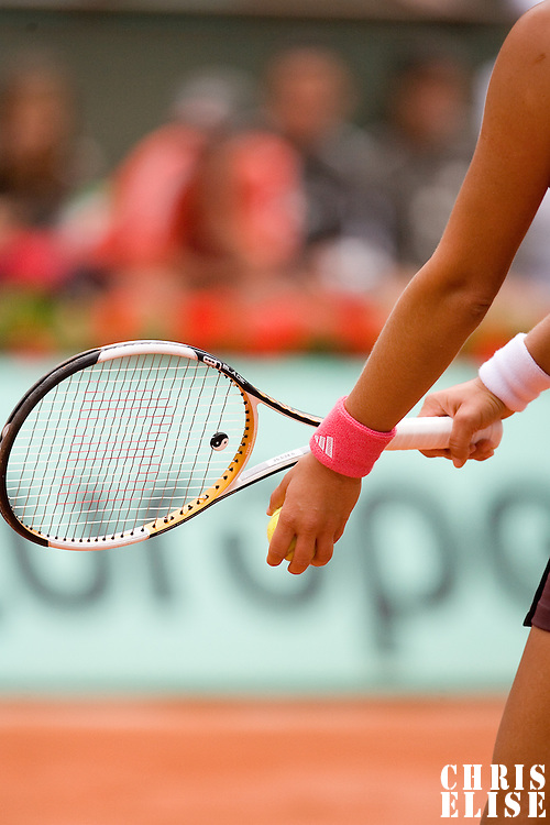 07 June 2007: Details of Serbian player Ana Ivanovic as she serves to Russian player Maria Sharapova during the French Tennis Open semi final won 6-2, 6-1 by Ana Ivanovic over Maria Sharapova on day 12 at Roland Garros, in Paris, France.