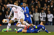 Sandro of Tottenham Hotspur (30) is fouled by Ruslan Rotan of Dnipro Dnipropetrovsk during the UEFA Europa League match at White Hart Lane, London<br /> Picture by David Horn/Focus Images Ltd +44 7545 970036<br /> 27/02/2014