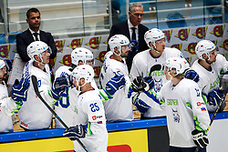 Robert Sabolic of Slovenia and Jan Drozg of Slovenia celebrate during ice hockey match between South Korea and Slovenia at IIHF World Championship DIV. I Group A Kazakhstan 2019, on April 30, 2019 in Barys Arena, Nur-Sultan, Kazakhstan. Photo by Matic Klansek Velej / Sportida