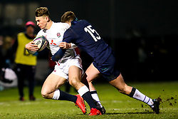 Tom Roebuck of England is tackled by Ollie Smith of Scotland - Mandatory by-line: Robbie Stephenson/JMP - 07/02/2020 - RUGBY - Myreside - Edinburgh, Scotland - Scotland U20 v England U20 - Six Nations U20