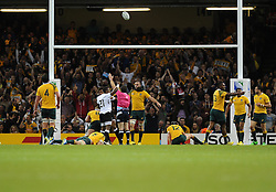 Fiji players and fans celebrate their Try  - Mandatory byline: Joe Meredith/JMP - 07966386802 - 23/09/2015 - Rugby Union, World Cup - Millenium Stadium -Cardiff,Wales - Australia v Fiji - Rugby World Cup 2015 - Pool A