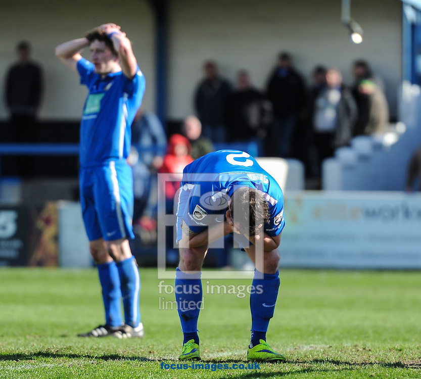 Dominic Roma of Gainsborough Trinity FC holds his head in his hands as he scores an own goal to make it 1-1 during the National League North match at the Northolme, Gainsborough<br /> Picture by Richard Land/Focus Images Ltd +44 7713 507003<br /> 16/04/2016