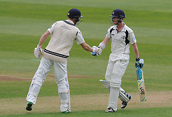 Middlesex's Nick Gubbins celebrates his half century. - Photo mandatory by-line: Harry Trump/JMP - Mobile: 07966 386802 - 27/04/15 - SPORT - CRICKET - LVCC Division One - County Championship - Somerset v Middlesex - Day 2 - The County Ground, Taunton, England.