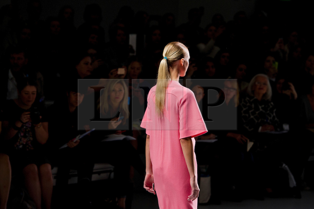 © London News PIctures. 13/09/2013. London, UK.   A model walks the runway at the J. JS Lee show by Jackie Lee at London Fashion Week Spring/Summer 2014. Photo credit: Ben Cawthra/LNP