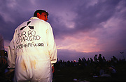 Man wearing a boiler suit with 'Turbo charged motherfucker' written on the back Creamfields 2000